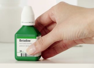 Photo of Betadine, a povidone iodine antiseptic