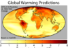 World map showing global warming predictions